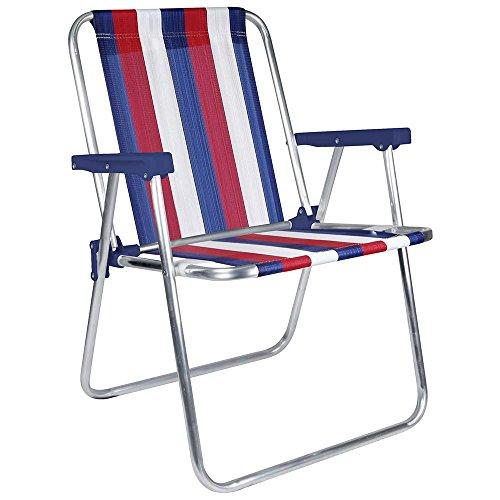 Dark Blue /& Green Stripe 1 Position - Pack of 1 MOR Aluminum Beach Chair -