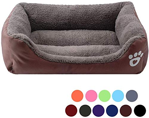 WUKONG99 Soft Washable Dog Cat Bed, Waterproof Oxford Dog Basket Bed, Soft Warm Fleece Dog Cuddler Bed Bolster Lounge with Non Slip Water Resistant Base (Small,Brown)