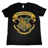 HARRY POTTER Licenza Ufficiale Hogwarts Crest Maglietta da Bambino Unisex - Nera 11/12 Anni