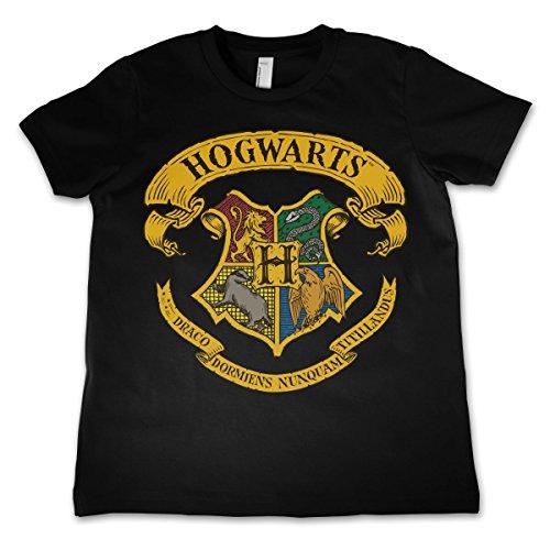 HARRY POTTER Oficialmente Licenciado Hogwarts Crest Unisexo Niños Camiseta - Negro 7/8 Años