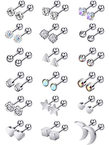 18 Pairs Stainless Steel Stud Earrings Solid Rhinestone Earring Cartilage Earrings Helix Ear Piercing Jewelry (Steel Color)