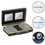 JJC Estuche para Tarjetas de memorias: 2 Tarjetas Compact Flash + 2 baterías(para Canon LP-E6 LP-E6N LP-E17 LP-E8 LP-E10 LP-E12 NB-13L Sony NP-FZ100 NP-FW50 NP-BX1Nikon EN-EL15 EN-EL14 Fuji NP-W126)