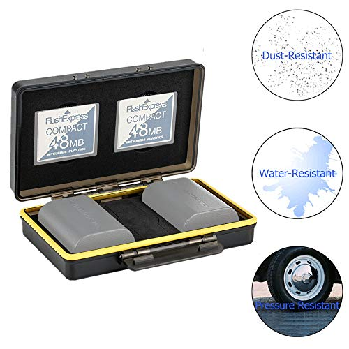 JJC Speicherkarten Schutzbox für 2 CompactFlash CF Karten & 2 Slots Kompatibel mit Canon LP-E6 LP-E6N LP-E17 LP-E8 Sony NP-FZ100 NP-FW50 NP-BX1 for Nikon EN-EL15 EN-EL14 Fuji NP-W126 Akku Tasche
