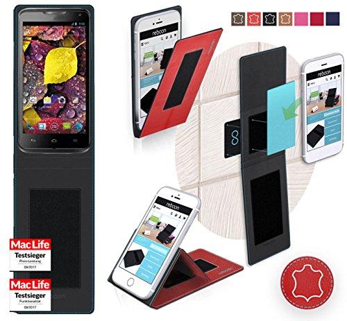 reboon Hülle für Huawei Ascend D1 Tasche Cover Case Bumper | Rot Leder | Testsieger