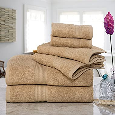 ISABELLA CROMWELL Super Soft Easy Care 6 pc Towel Set; 2 Bath Towels, 2 Hand Towels and 2 Wash Cloths - TAUPE