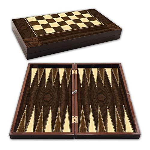 YuanBo Wu Backgammon Especial Madera de nogal Ajedrez Damas Draughts Juegos de Viaje Gran Conjunto Familiar Tablero Turco Entretenimiento