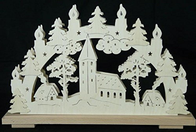 Schwibbogen Kirchberg mit Kerzen B x H= 50x32cm NEU Lichterbogen Fensterschmuck Erzgebirge Holz