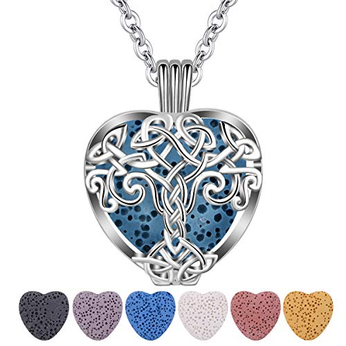 CELESTIA Essential Oil Diffuser Necklace for Women, Heart Celtic Tree of life Aromatherapy Locket Pendant Necklace, 7 Heart Shaped Lava Rock Stone Beads for Women Girls - 24' Chain