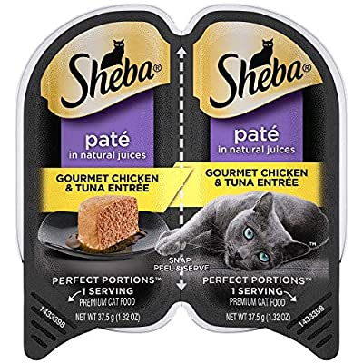 SHEBA PERFECT PORTIONS Soft Wet Cat Food Paté in Natural Juices Gourmet Chicken & Tuna Entrée, (24) 2.6 oz. Easy Peel Twin-Pack Trays