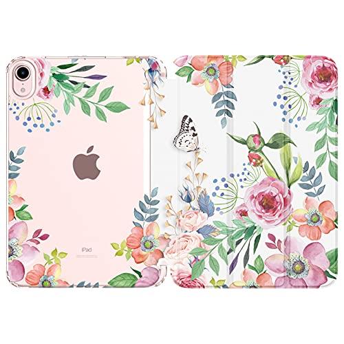 MoKo Hülle Kompatibel mit Neu iPad Mini 6 8,3 Zoll 2021(iPad Mini 6. Generation), PU Leder Tasche Schutzhülle mit Transluzent TPU Rücken Deckel Auto Schlaf/Wach Funktion, Duftende Blume