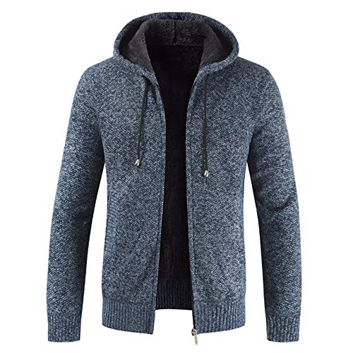 qulvyushangmaobu Cárdigan de Punto para Hombre Cremallera Completa Jersey cálido Abrigo de Invierno Forrado de Lana Suéter Grueso para Hombre Abrigo Completo Suéter de Manga Larga Forrado