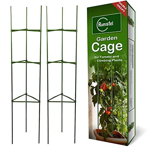 Pflanzenhalter, Rankhilfe Pflanzen, Robuste Tomatenkäfig, Gartenpflanze StützstangenKäfig Lange Stahl, Kunststoff beschichtete Pflanzen Sticks mit Verbindungsstange (Zwei Sätze)