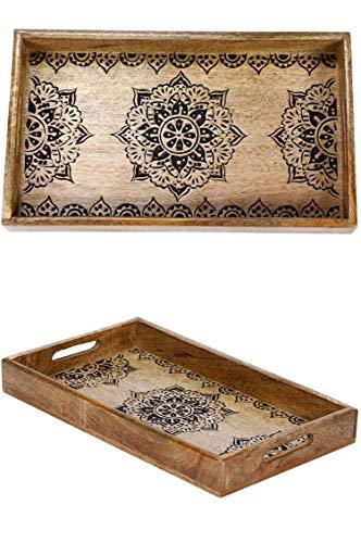 Orientalisches eckiges Tablett aus Mango Holz Arash 38cm | Marokkanisches Teetablett in der Farbe Braun | Orient Holztablett | Orientalische Dekoration auf dem gedeckten Tisch