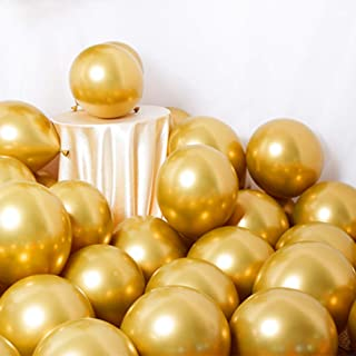 Party Balloons 50 Pcs 12Inch Metallic Chrome Helium Shiny Latex Thicken Balloon Perfect Decoration for Wedding Birthday Baby Shower Graduation Christmas Carnival Party Supplies Gold
