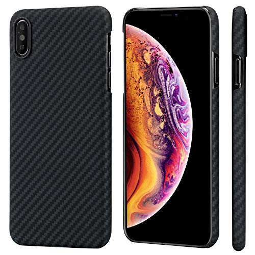 PITAKA Magnetic Slim Case Compatible with iPhone Xs Max 6.5, MagEZ Case Aramid Fiber [Real aero Crafts Material] Phone Case,Minimalist Strongest Durable Snugly Fit Snap-on Case - Black/Grey(Twill)