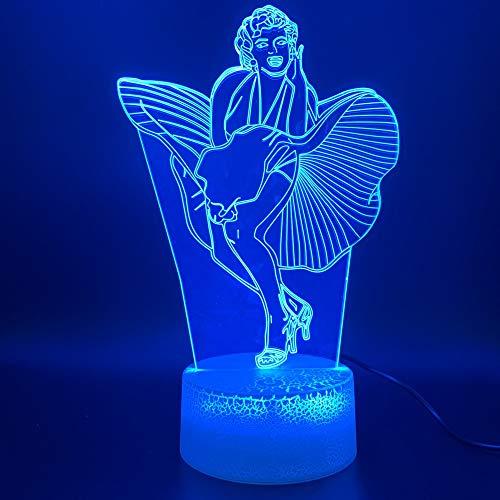 Nur 1 Stück 3d Led Nachtlicht Lampe Promi Marilyn Monroe Kleid Figur Touch Sensor Licht Home Decoration Geburtstagsgeschenk Baby Nachtlicht