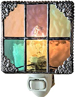 J Devlin NTL 165 Multi Colored Stained Glass Night Light Peach Purple Green Aquamarine Amber Burgundy Decorative Home Accent Lite
