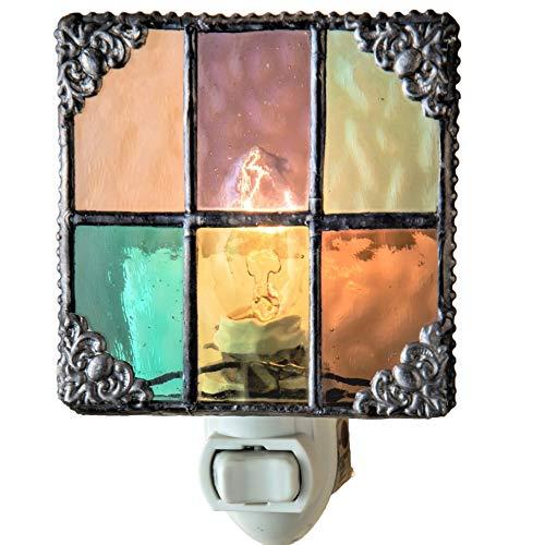 J Devlin NTL 165 Multi Colored Stained Glass Night Light Peach Purple Green Aquamarine Amber Burgundy Decorative Home Accent Lite