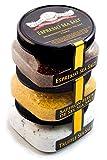 Exotic Sea Salt Collection 3-Pack - Italian Black Truffle, Saffron Fleur de Sel, Espresso - Fabulous Gift - Delicious, Unusual Sea Salt Infusions - Non-GMO, Gluten-Free, No MSG (12 total oz.)