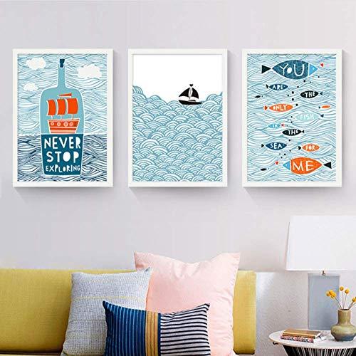 Fvfbd Lienzo Decorativo nórdico Que Pinta el océano de Dibujos Animados de Estilo Minimalista con Bote de Botellas y Peces Diversos para niños Sin Marco 50cmx70cmx3 pcs