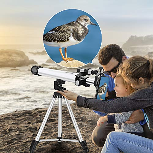 KKTECT Telescopio para niños Telescopio Refractor para Principiantes con trípode Ajustable, Starfinder y Soporte para teléfono, para niños Observación de Aves Observación de Estrellas del Cielo