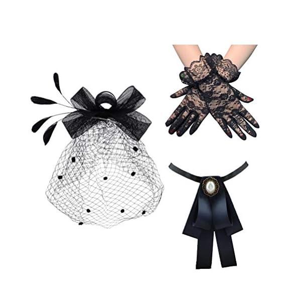 Cooyeah Fascinators Pillbox Hat Black Birdcage Veil Mesh Headband Bow Tie Short Lace Gloves for Tea Party Women, Medium