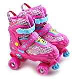 The Magic Toy Shop Kids Adjustable 4 Wheel Pink Quad Roller Skates Boots Childrens Rollers Medium UK Shoe Size 2-4