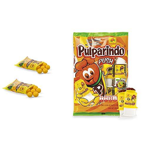 Pulparindo Push Hot and Salted Tamarind Pulp Candy - 12 ct And 2 Pulparindots pockets