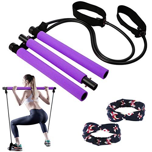 Pilates Stick Bar with 3 Latex Resistance Bands Tubes for Women & Men, All-in-one Training Equipment Pilates kit for Home Gym Workout Fitness Exercise with Foot Loops for Squat Yoga Body Shape
