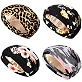 4 Pieces Satin Lined Sleep Cap Double Layer Silk Sleeping Bonnet Slouchy Beanie Slap Hat for Women Curly Hair (Black and Pink, Pink Camouflage, Leopard, Yellow)