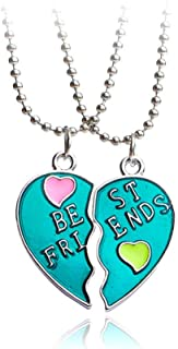 Best Friends Forever Gift Necklace Set of 2 Pcs - Fashion Lovely Oil Painting Heart Pendants - Friendship Evergreen - Birt...