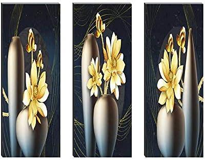 SAF Set of 3 Yellow Preety Flower Pot 6MM MDF UV Textured Self adesshive Painting 18 Inch X 15 Inch SANFJ170