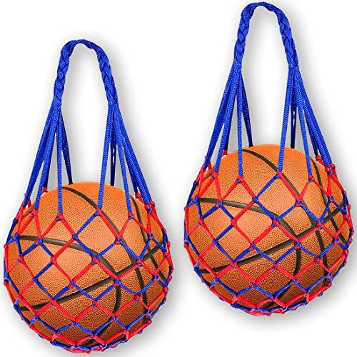 Bolsa De Red De Baloncesto De Fútbol,Bolsa De Tenis Portátil Tejida a Mano De, Adecuada Para Fútbol, Baloncesto, Rugby, Voleibol, Voleibol De Playa (Costuras Azules y Rojas)