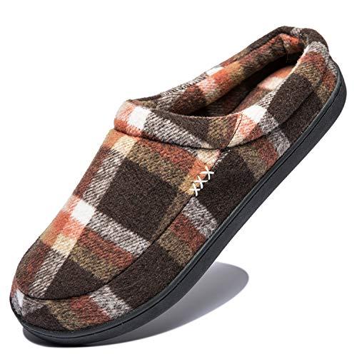 Hombre Zapatillas de Casa Espuma de Memoria Cálido Interior Pantufla Antideslizante Zapatos, Talla 39-50, Marrón,49/50 EU