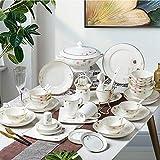 XLNB Juego de vajilla de porcelana con diseño de flores, 52 piezas, juego de platos y cuencos, plato de cena, plato de postre, para fiestas, fiestas, fiestas, reuniones familiares, color rosa