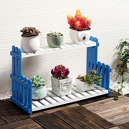 PLL Simple Solide Bleu Blanc Fleur Stand Salon Balcon Plancher Multi-Couche Plateau De Pot De Fleurs Intérieur Stand De Fleurs (Size : M)