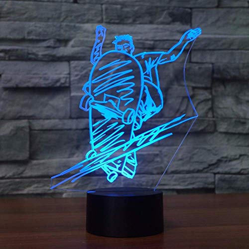 Nfudishpu 3D Night Light, LED Fashion Slide Plate Street Art Skateboarding Lamp Beside Table Lamp 7 Colors Auto Changing Touch Switch Desk Decoration Lamps, New Year's Gifts
