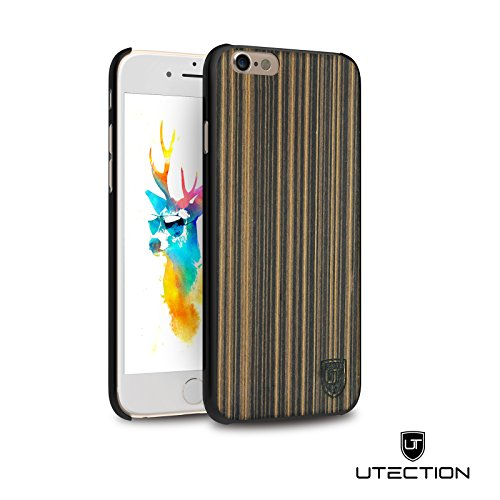 UTECTION Custodia in Legno per iPhone 6 / 6s - Vero Legno - Ultra Sottile - Design Unico, Wood Cover Bumper Pappel