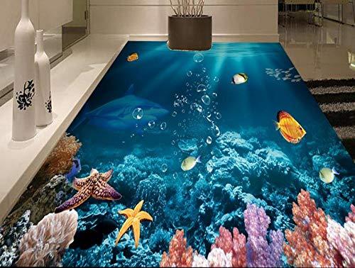 Papel pintado de foto de baldosas 3d personalizado tiburón papel tapiz de suelo 3d papel tapiz autoadhesivo de pvc suelo 3d para sala de estar 150 * 105 cm