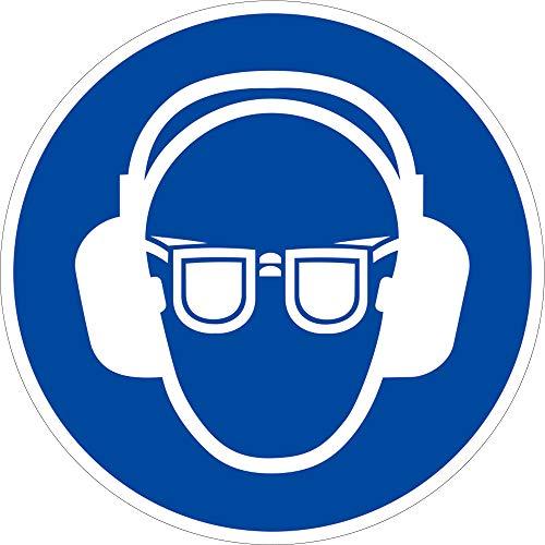 Schild Alu Gehörschutz und Augenschutz benutzen ISO 7010 Ø 20 cm