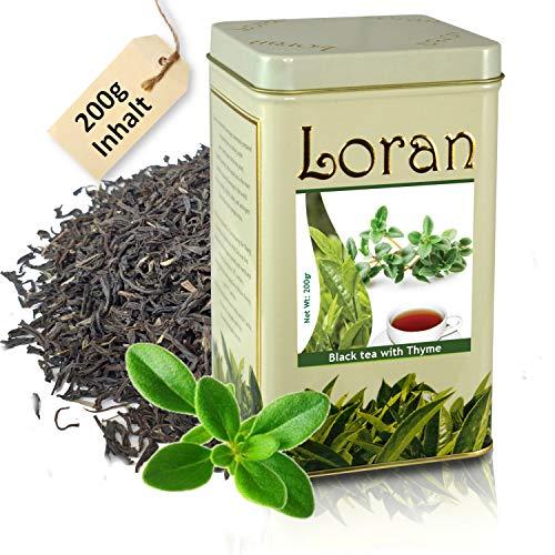 LORAN - Schwarzer Tee mit Thymian 200g, Thymiantee, Premium Qualität, Ceylon Tee schwarz aus Sri Lanka, tee lose in Tee Dose mit verschließbaren Beutel, frisch, Geschenk für Frauen und Männer