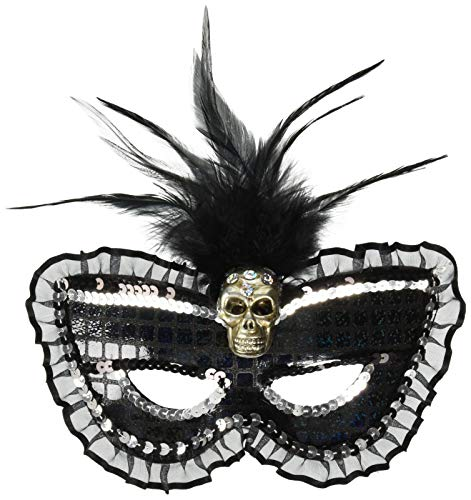 Amscan Prismatic Skull Feather Masquerade Mask Halloween Costume Accessory for Women, One Size