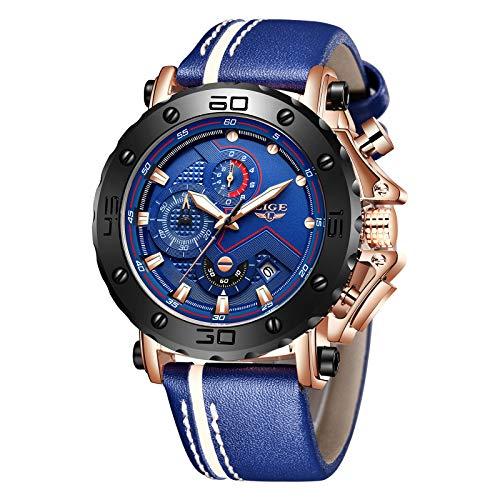 LIGE Relojes para Hombre Reloj Deportivo de Cuero Militar Cronógrafo Impermeable Negro Reloj de Cuarzo con Esfera Grande Azul