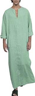 Men's Casual Linen Robe Long Sleeve V-Neck Kaftan Abaya Thobe Long Gown