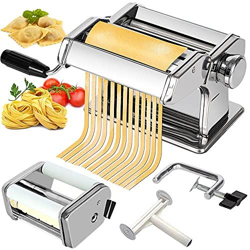 CHEFLY Pasta & Ravioli Maker Set 9 Thickness Settings for Fresh Homemade Lasagne Fettuccine Spaghetti Dough Roller Press Cutter Noodle Making Machine P1802