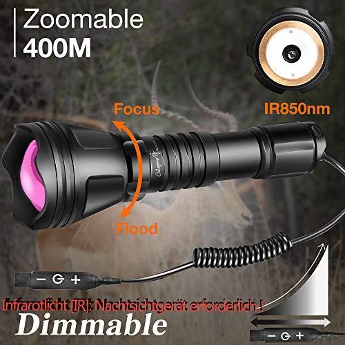 Linterna Odepro KL52-ir Zoom 400 mts. IR850nm luz infrarroja con interruptor remoto regulable para la caza
