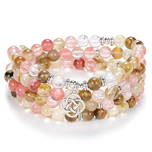 Self-Discovery Celtic Gift Ideas 108 Mala Stone Beads Bracelet Crystal Necklace with Infinity Knot Good Luck Charm (Pink Watermelon Tourmaline)