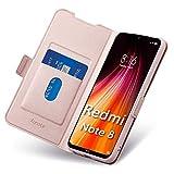 Aunote Xiaomi Note 8 Hülle (2019/2021), Xiaomi Redmi Note 8 Handyhülle, Schutzhülle Redmi Note 8, Klapphülle Redmi Note 8, Tasche Redmi Note 8, Leder Etui Folio, Flip Phone Cover Hülle. Rosegold