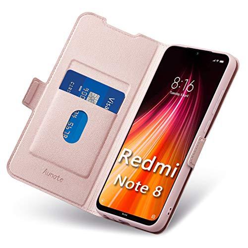 Funda Xiaomi Redmi Note 8,Funda Redmi Note 8 Libro, Carcasa Xiaomi Note 8 con Cierre Magnético, Tarjetero y Suporte, Cubierta Plegable Cartera, Flip Cover Case, Étui Piel Protección. Oro Rosa