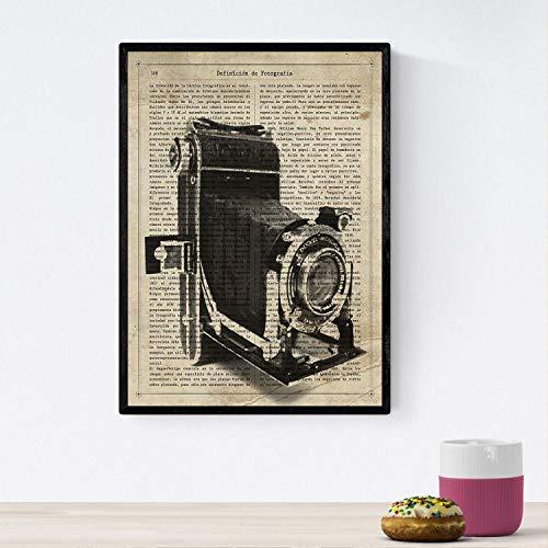 Nacnic Poster de Camara Antigua Kodak. Láminas de cámaras de Fotos Antiguas. Decoración de fotografía. Tamaño A4 con Marco